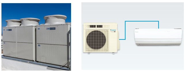 Mitsubishi + Daikin VRF and Split DX Air Source Heat Pumps (Refrigerant Based)